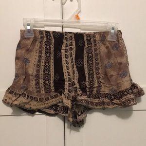 Urban renewal ruffle bottom printed shorts